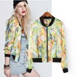 [Preorder] เสื้อแจ๊กเก็ตแขนยาวลายดอกปริ้นท์หลากสี แบรนด์ ASOS (ไซส์ S M L) The new European style graffiti 2014ASOS spell color printing collar chiffon sleeved shirt jacket sun