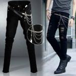 กางเกงยีนส์สีดำแฟชั่นขาดๆ