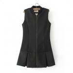 [Preorder] เสื้อแจ๊กเก็ตแฟชั่นแขนกุดสไตล์ยุโรป สีดำ (ไซส์ S M L) 2015 spring new European style fashion ladies skirt zipper hem small collar vest coat female