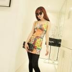 [Preorder] เดรสแฟชั่นแขนกุดสำหรับสาวไซส์เล็ก ลาย section สีเหลือง 2013 summer new super wild multicolor Korean Women Long Vest