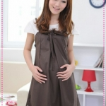 เดรสคลุมท้องวัยรุ่นมือใหม่สีน้ำตาล 2012 New Maternity summer simple and stylish pregnant women skirt Korea solid color leave two pregnant women dress