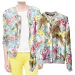 [Preorder] เสื้อแจ๊กเก็ตแขนยาวลายดอกไม้ แบรนด์ ZARA (ไซส์ S M L) 2014 new models in Europe and America Fan ZARA with tropical print long-sleeved jacket collar jacket Slim blouses