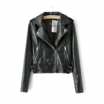 [Preorder] เสื้อแจ๊กเก็ตหนังแฟชั่นแขนยาวสไตล์ยุโรป สีดำ (ไซส์ S M L XL) Europe station 2015 autumn new women washed Pilar chain PU leather jacket lapel jacket female wild
