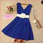 [Preorder] เดรสออกงานแฟชั่นคอวีแขนกุดสีน้ำเงิน 2012 summer new Korean version shiny zipper natural Jane chiffon vest dress