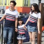 เสื้อครอบครัว ชุดพ่อแม่ลูก คอกลมลายขวาง ขาว-น้ำเงิน-แดง  (ราคา 3 ตัว พ่อ แม่ ลูก) - pre order