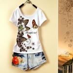 [Preorder] เสื้อยืดแฟชั่นแขนสั้นสกรีนลายผีเสื้อเริงร่า 2013 Chinese women's national wind printing new Slim fashion butterfly U-neck short sleeve T-shirt