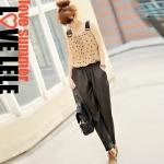 [Preorder] จั๊มสูทแฟชั่นสายเดี่ยวเส้นใหญ่ลายจุด ช่วงบนสีกากี + กางเกงสีดำ 2013 spring and summer women's Korean fashion wave point chiffon patchwork piece pants jumpsuit trousers