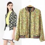 [Preorder] แจ๊กเก็ตแฟชั่นแขนยาวสไตล์ยุโรป ลายดอกไม้สีเขียวอ่อน (ไซส์ S M L XL) 2014 spring and summer new European style big floral print sport baseball jacket short jacket blouses