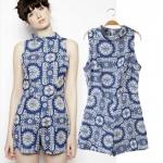 [Preorder] จั๊มสูทแฟชั่นแขนกุดสไตล์ยุโรป แบรนด์ ASOS ลายดอกไม้สีฟ้า (size S M L) ASOS MICN women's 2014 summer new European style blue and white porcelain printing piece pants shorts shorts