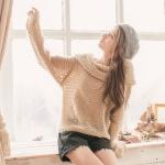 [Preorder] เสื้อกันหนาวแฟชั่นแขนยาว สีกากี Large lapel hollow hook knitting word