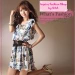 [Preorder] เดรสแฟชั่นแขนสั้นลายดอกไม้สีฟ้า + เข็มขัด Floral dress with belt