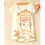 [Preorder] เสื้อแฟชั่นแขนสั้นสกรีนลายเก๋ๆ ลายทอมแอนเจอรี่ 2013 Korean version of the first new women bat shirt loose T-shirt many color patterns