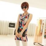 [Preorder] เดรสแฟชั่นแขนกุดสำหรับสาวไซส์เล็ก ลาย cell สีน้ำเงิน 2013 summer new super wild multicolor Korean Women Long Vest