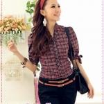 เสื้อเชิ๊ตแขนสามส่วนลายตารางสีชมพู Korea stand-up collar decorative lace Puff Department of bow temperament lattice Slim blouse