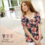 [Preorder] เสื้อแฟชั่นแขนสั้นตุ๊กตาลายดอกไม้ สีน้ำเงิน Ribbon flowers printed waist coat