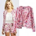 [Preorder] เสื้อสูทแฟชั่นแขนยาวสกรีนลายเก๋ๆ สีชมพู (ไซส์ S M L) Hitz 2014 European Grand Prix aristocratic temperament cashew flower printed long-sleeved jacket jackets blouses