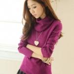 [Preorder] เสื้อกันหนาวแขนยาวคอสูงสีม่วง Trifle collar long-sleeved the warm sweater
