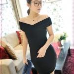 เดรสแฟชั่นเปิดไหล่สีดำ JackGrace charm! Cross-wrapped shoulder sexy dress color