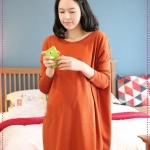 เดรสคนท้องคุณแม่ยุคใหม่สีส้ม Korean Maternity shoulder zipper design orange pregnant women dress code fashion pregnant women dress more than fat can wear