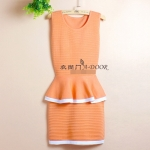 [Preorder] เดรสทำงานแฟชั่นแขนกุด สีส้ม Autumn sexy Slim waist flouncing package hip fake two knitted dress sleeveless vest OL step skirt