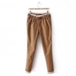 [Preorder] กางเกงแฟชั่นขายาวประดับลูกไม้มาพร้อมเข็มขัดเก๋ๆ สีน้ำตาล 2013 Spring new sweet institute wind lace waist decorated small feet / pencil pants casual pants women