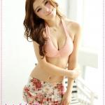 บิกินนี่กระโปรงลายดอกไม้สีชมพู Printed tie neck bikini two groups Tokyo Fashion 100% (Preorder)