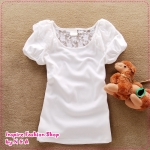 เสื้อแฟชั่นแขนสั้นสีขาว summer partner Women Korean cartoon simple cultivating cotton short-sleeved T-shirt