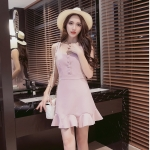 [Preorder] เดรสแฟชั่นสไตล์เรโทร สีชมพูอ่อน (ไซส์ S M L) 2016 spring and summer new Korean women floral camisole dress Slim thin bottoming dress tutu