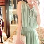 [Preorder] เดรสออกงานแขนกุดแฟชั่นเรสโทสีเขียว retro 80s Pleated College Wind fake two-piece sleeveless vest dress