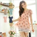 [Preorder] เสื้อแฟชั่นแขนสั้นตุ๊กตาลายดอก สีชมพู แบรนด์ Tokyo Fashion ของแท้ 100% Printed waist Figure Punta sleeves, chiffon blouse