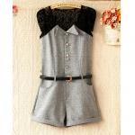 [Preorder] จั๊มสูทแฟชั่นแขนกุดประดับลายถักโครเช่ต์ สีเทา (พร้อมเข็มขัด) 2013 summer new Korean Women lace stitching cotton piece pants shorts (with belt)