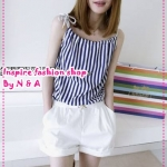 จั๊มสูทสายเดี่ยวขาสั้นลายทางสีน้ำเงิน Spring and summer of 2012 the Korean version of the new women's individual vertical stripes stylish sling-piece shorts jumpsuit