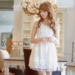 ♥♥ พรีออเดอร์ ♥♥ ชุดเดรสเจ้าหญิงสีขาวผ้าลูกไม้แขนกุด สวยหวานน่ารักๆ