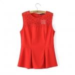 [Preorder] เสื้อแฟชั่นแขนกุดสไตล์ยุโรประบายโครเช่ต์ สีแดง (ไซส์ S M L) MICN 2015 summer new European style fashion ladies flounced lace stitching Slim sleeveless T-shirt shirt
