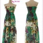 Maxi dress สายเดี่ยวลายดอกไม้สีเขียว Spring and summer of 2012 the new Women Korean bohemian tie-dye color flower harness dress