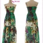 Maxi dress สายเดี่ยวลายดอกไม้สีเขียว Spring and summer of 2012 the new Women Korean bohemian tie-dye color flower harness dress