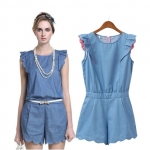[Preorder] จั๊มสูทยีนส์แฟชั่นขาสั้นสไตล์ยุโรป (ไซส์ S M L) Europe 2014 new female summer home stitching lace round neck cotton denim shorts casual pants Siamese