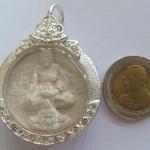 เหรียญหลวงปู่ศุขนั่งบนพระราหูอมจันทร์หลังพระพิฆเนศเลี่ยมเงินไมครอนค่ะ