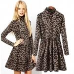 [Preorder] เดรสแฟชั่นแขนยาวสไตล์ยุโรป ลายเสือดาวสีน้ำตาล (ไซส์ S M L XL) Cotton Village 2014 winter new European style leopard collar long-sleeved dress waist height repair female backing skirt