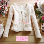 [Preorder] เสื้อสูทแขนยาวเก๋ๆ ประดับลูกไม้หวานๆ สีชมพูอ่อน 2012 autumn and winter new women lace lotus leaf lace woolen short jacket short coat with butterfly corsage