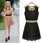 [Preorder] เดรสแฟชั่นแขนกุดสไตล์ยุโรปพลีทรอบ (ไซส์ S - XL) สีดำ 2013 summer new European and American big yards ladies dress was thin commuter sleeveless chiffon dress skirt summer skirt
