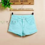[Preorder] กางเกงขาสั้นแฟชั่นลายจุด สีเขียวฟ้า Cheap Japanese low-waist jeans shorts dot elastic cuffs purple light green candy-colored dots shorts shorts female