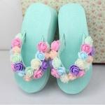 [Preorder] รองเท้าแตะแฟชั่นดอกกุหลาบ สีมิ้นท์กรีน Original hand-beach sandals 2014 new female flowers summer tide muffin thick crust slope with high-heeled sandals