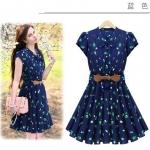 [Preorder] เดรสทำงานแฟชั่นแขนสั้นสไตล์ยุโรปสกรีนลาย สีน้ำเงิน Europe summer new women sweet lady floral lace bow waist dress flouncing