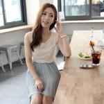 RJ.Story เดรสสาวหวานๆสไตล์เกาหลี เสื้อแขนกุุดตัดต่อกระโปรงอัดพรีท ด้านหลังเก๋ผูกโบว์