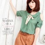 [Preorder] เสื้อแฟชั่นแขนสั้นเปิดไหล่ลายหัวใจสีเขียว Taiwan Pavilion * Tianmu * summer new * Lolita the small caring strapless chiffon shirt shirt