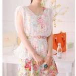 Cherry KOKO ชุดเดรสใส่ไปงานลายดอกไม้สีหวาน+เสื้อคลุมผ้าลูกไม้แขนล้ำสีขาวแถมเข็มขัดลายดอกไม้ด้วยนะค่ะชุดนี้