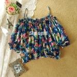 [Preorder] เสื้อแฟชั่นแขนสามส่วนตุ๊กตาลายดอกไม้ สีน้ำเงินThe new spring and summer 2013 women's vivi Japanese retro big flower sexy strapless chiffon shirt waist coat
