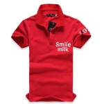 เสื้อโปโลแขนสั้น Smile Milk สีแดง Slim spike simple letter of the 2012 men's fashion POLO shirt, POLO shirt men - Lifestyle