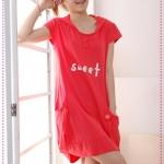 เดรสคลุมท้องวัยรุ่นเก๋ไก๋ฉบับคุณแม่ยุคใหม่ Pregnant women in special 2012 summer new casual knitted cotton skirt pregnant women, short-sleeved hooded dress
